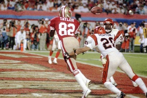 "The other ""Catch."" John Taylor in the Super Bowl Watched this game at a golf course."